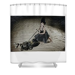 Shower Curtain featuring the photograph Bizarre Girl With Lawn Mower On Beach by Michael Edwards