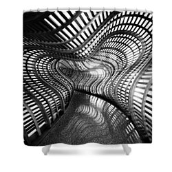 Black Abstract Hall Shower Curtain