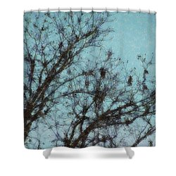 Shower Curtain featuring the digital art Black And Blue Smudge by Ellen Barron O'Reilly