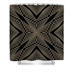 Black And Gold Art Deco Filigree 003 Shower Curtain