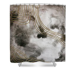 Black And Gold Watercolor Shower Curtain