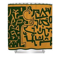 Shower Curtain featuring the digital art Black And Orange Klee by Vagabond Folk Art - Virginia Vivier