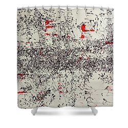 Shower Curtain featuring the painting Black And Red 2 by Nancy Merkle
