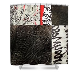 Shower Curtain featuring the painting Black And Red 3 by Nancy Merkle