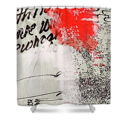 Shower Curtain featuring the painting Black And Red 4 by Nancy Merkle