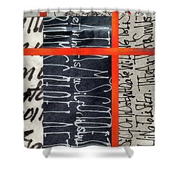 Shower Curtain featuring the painting Black And Red 7 by Nancy Merkle