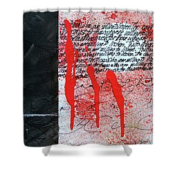 Shower Curtain featuring the painting Black And Red 8 by Nancy Merkle