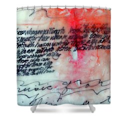 Shower Curtain featuring the painting Black And Red Encaustic 1 by Nancy Merkle
