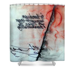 Shower Curtain featuring the painting Black And Red Encaustic 2 by Nancy Merkle