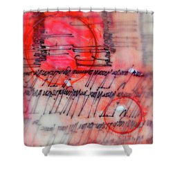 Shower Curtain featuring the painting Black And Red Encaustic 3 by Nancy Merkle