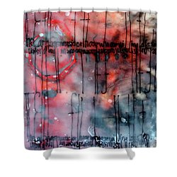 Shower Curtain featuring the painting Black And Red Encaustic 4 by Nancy Merkle