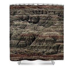 Black And Red Strata The Badlands South Dakota Shower Curtain