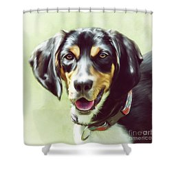 Shower Curtain featuring the digital art Black And Tan by Lois Bryan