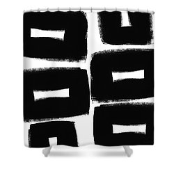 Black And White Abstract- Abstract Painting Shower Curtain