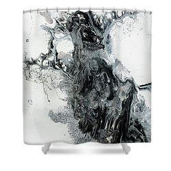 Black And White Abstract Painting  Shower Curtain