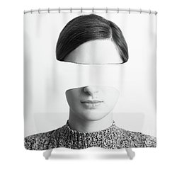 Black And White Abstract Woman Portrait Of Identity Theft Concept Shower Curtain by Radu Bercan