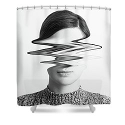 Black And White Abstract Woman Portrait Of Restlessness Concept Shower Curtain by Radu Bercan