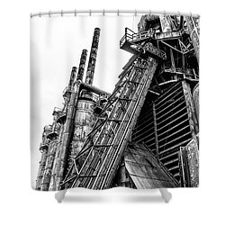 Black And White - Bethlehem Steel Mill Shower Curtain by Bill Cannon