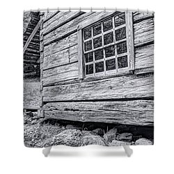 Black And White Cabin In The Forest Shower Curtain