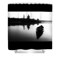 Black And White Canoe In Still Water Shower Curtain