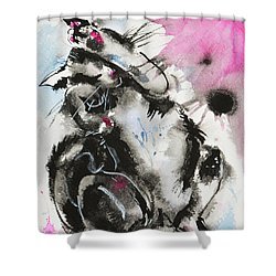 Shower Curtain featuring the painting Black And White Cat Sleeping by Zaira Dzhaubaeva