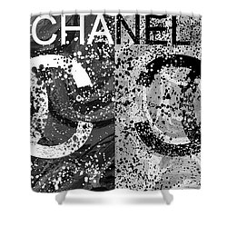 Black And White Chanel Art Shower Curtain by Dan Sproul