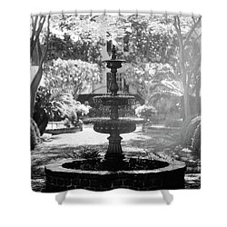 Black And White Charleston Fountain Shower Curtain