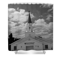 Shower Curtain featuring the photograph Black And White Church by Robert Hebert