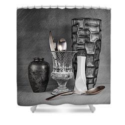 Black And White Composition Shower Curtain by Tom Mc Nemar