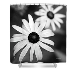 Shower Curtain featuring the photograph Black And White Daisies by Christina Rollo