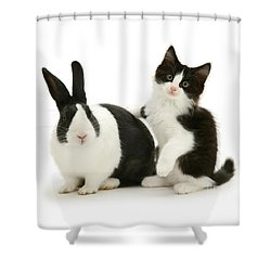Black And White Double Act Shower Curtain