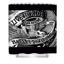 Black And White Emblem Shower Curtain
