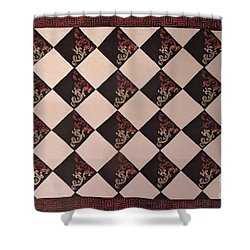 Black And White Checkered Floor Cloth Shower Curtain by Judith Espinoza