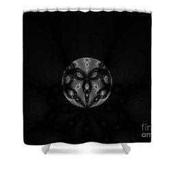 Black And White Globe Fractal Shower Curtain