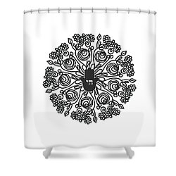 Shower Curtain featuring the mixed media Black And White Hamsa Mandala- Art By Linda Woods by Linda Woods