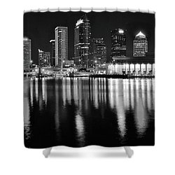 Shower Curtain featuring the photograph Black And White Harbor In Tampa Bay by Frozen in Time Fine Art Photography