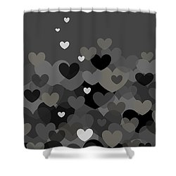 Black And White Heart Abstract Shower Curtain by Val Arie