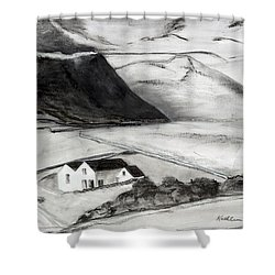Black And White House And Hills Shower Curtain