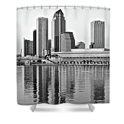 Black And White In The Heart Of Tampa Bay Shower Curtain by Frozen in Time Fine Art Photography