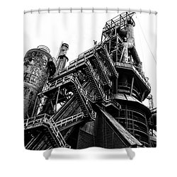 Black And White Industrial - Bethlehem Steel Shower Curtain by Bill Cannon