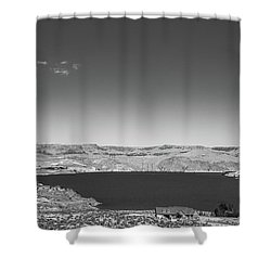 Shower Curtain featuring the photograph Black And White Landscape Photo Of Dry Glacia Ancian Rock Desert by Jingjits Photography