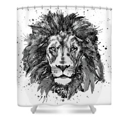 Shower Curtain featuring the mixed media Black And White Lion Head  by Marian Voicu