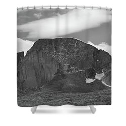 Shower Curtain featuring the photograph Black And White Longs Peak Detail by Dan Sproul