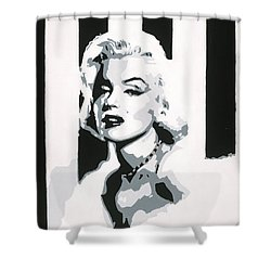 Shower Curtain featuring the painting Black And White Marilyn by Ashley Price