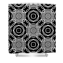 Black And White Modern Roses- Pattern Art By Linda Woods Shower Curtain