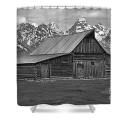 Black And White Mormon Row Barn Shower Curtain by Adam Jewell