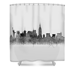 Shower Curtain featuring the digital art Black And White New York Skylines Splashes And Reflections by Georgeta Blanaru