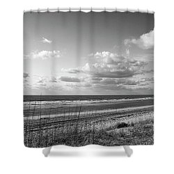 Black And White Ocean Scene Shower Curtain