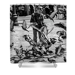 Black And White Of Boy Feeding Pigeons In Sarajevo, Bosnia And Herzegovina  Shower Curtain