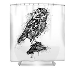 Shower Curtain featuring the mixed media Black And White Owl by Marian Voicu